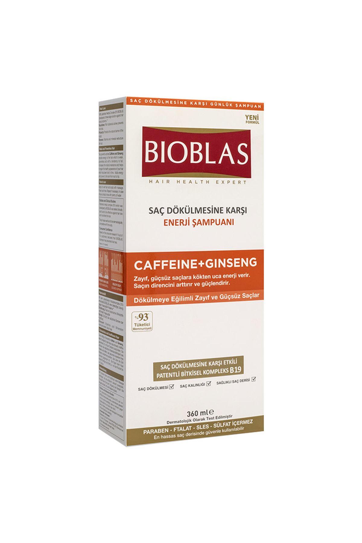 Bioblas Saç Dökülmesine Karşı Enerji Şampuanı Caffeine + Ginseng 360 ML