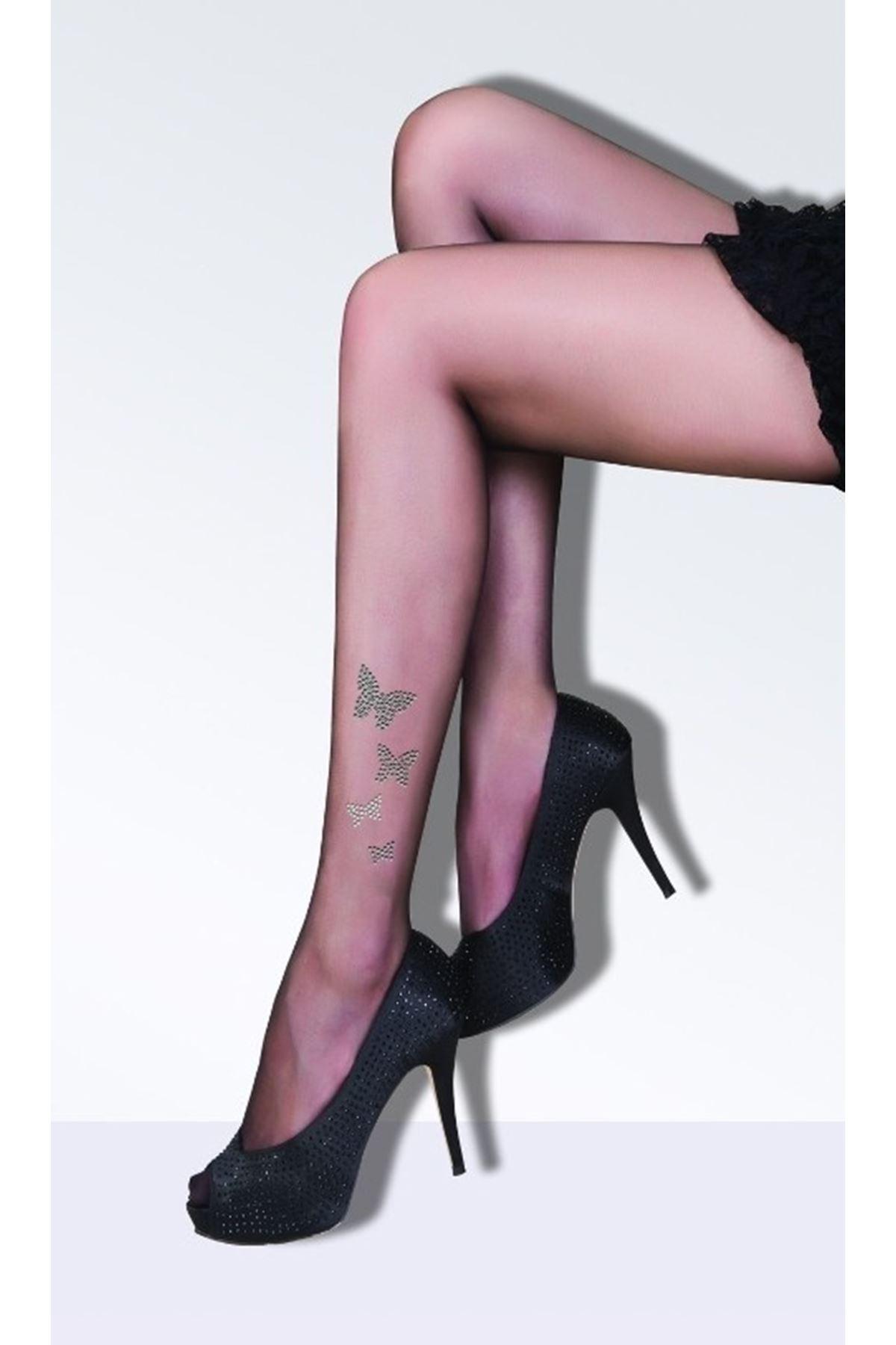 Daymod Butterfly Taşlı Külotlu Çorap Siyah