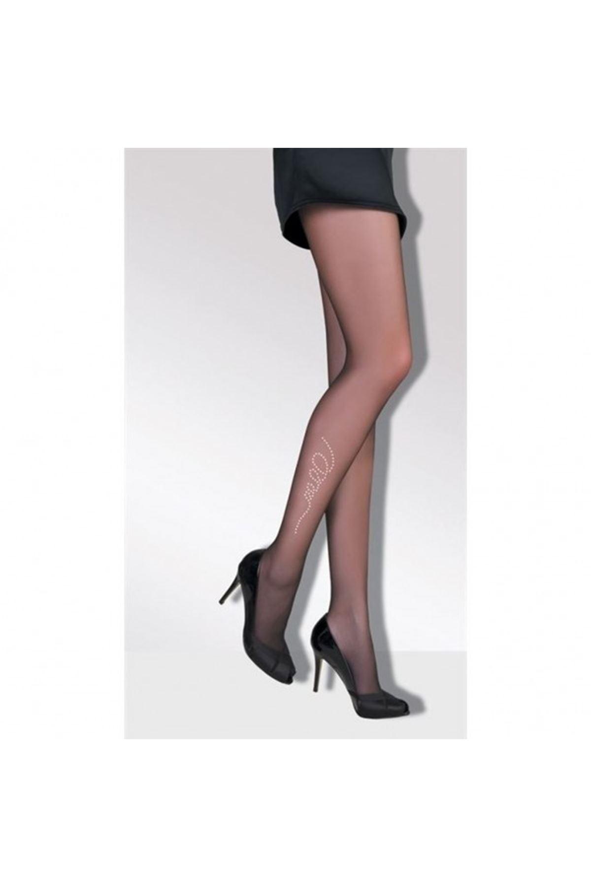 Daymod İnci Taşlı Külotlu Çorap Siyah