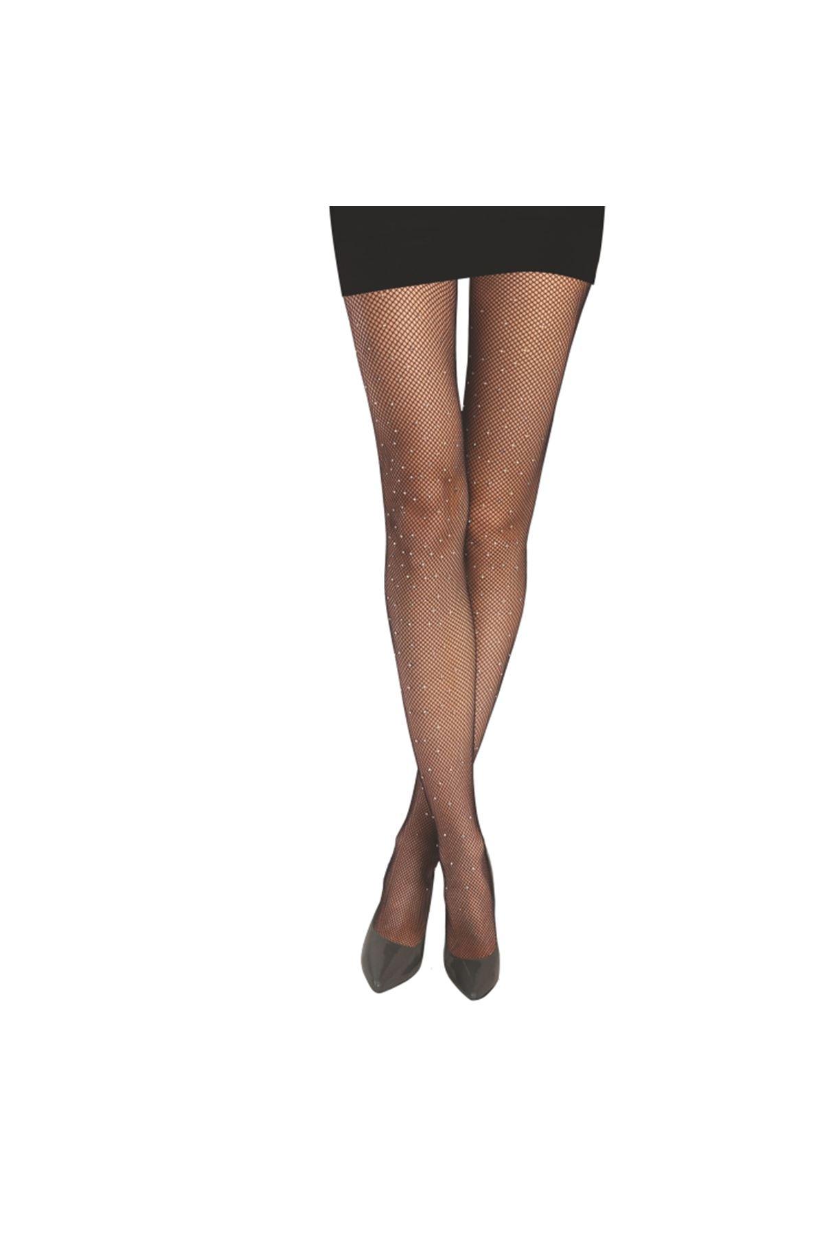 Daymod Rete File Taşlı Çorap Siyah