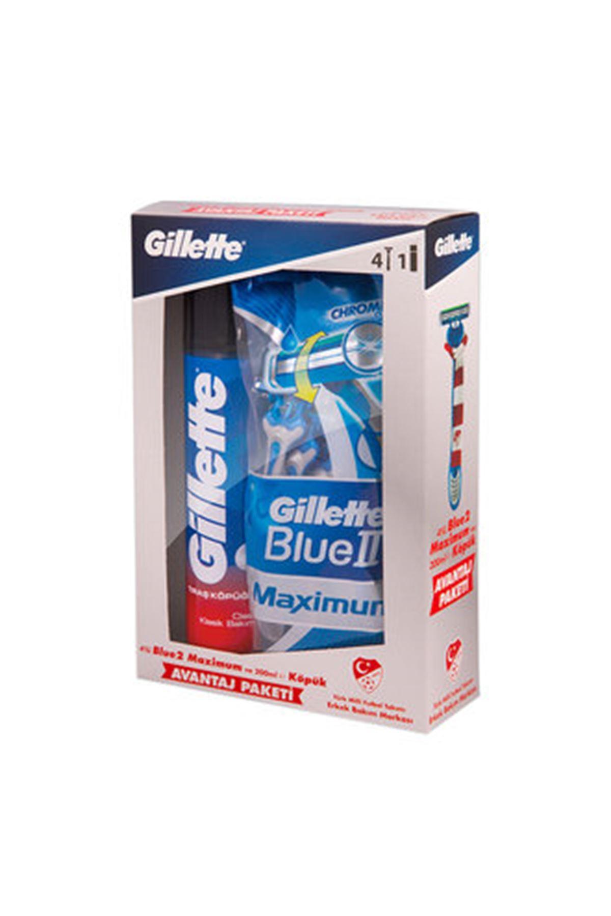 Gillette Blue 2 Max 4'Lü Tıraş Bıçağı+Tıraş Köpüğü 200 Ml Köpük Set