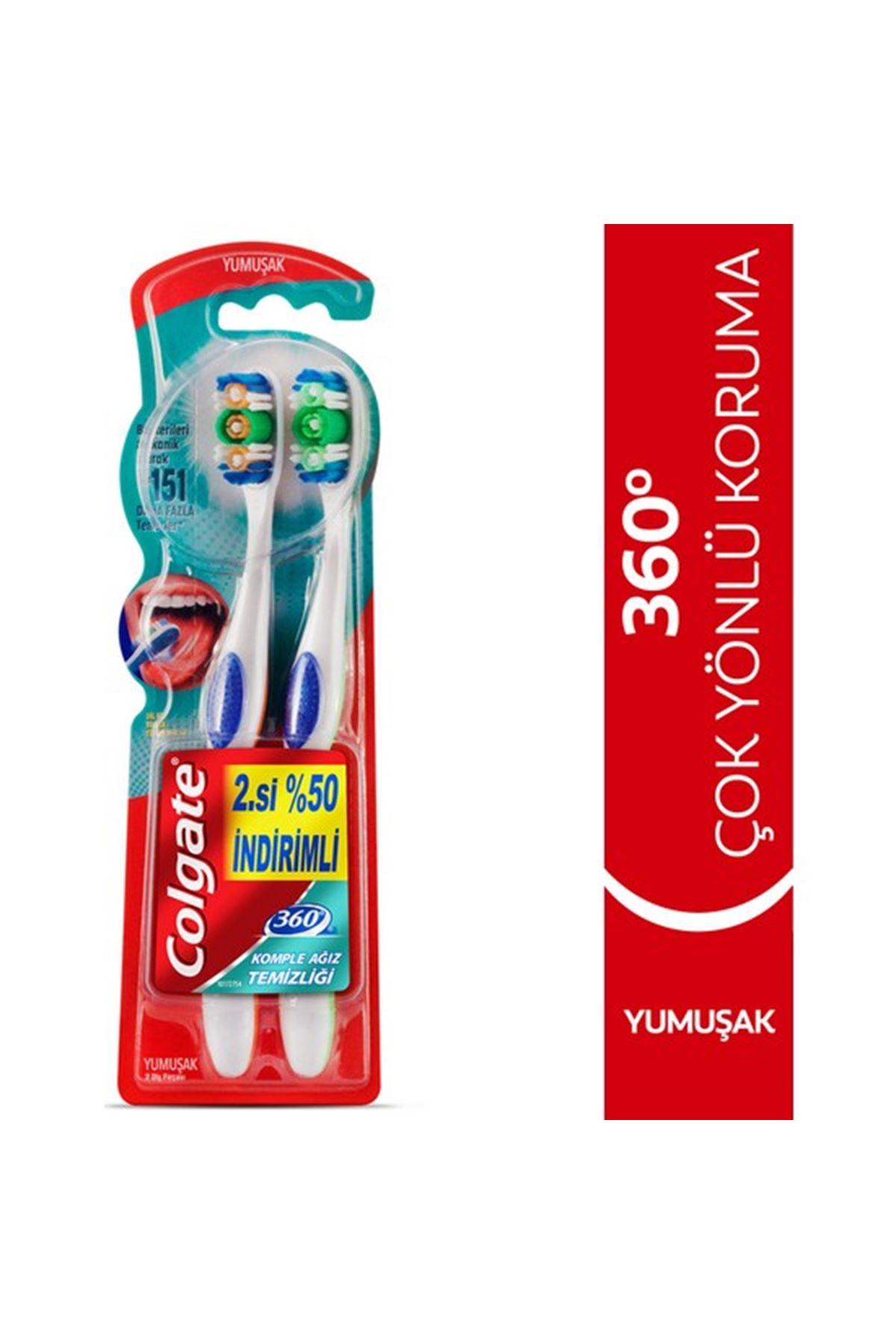 Colgate 360 Komple Ağız Temizliği Yumuşak 1+1 Diş Fırçası