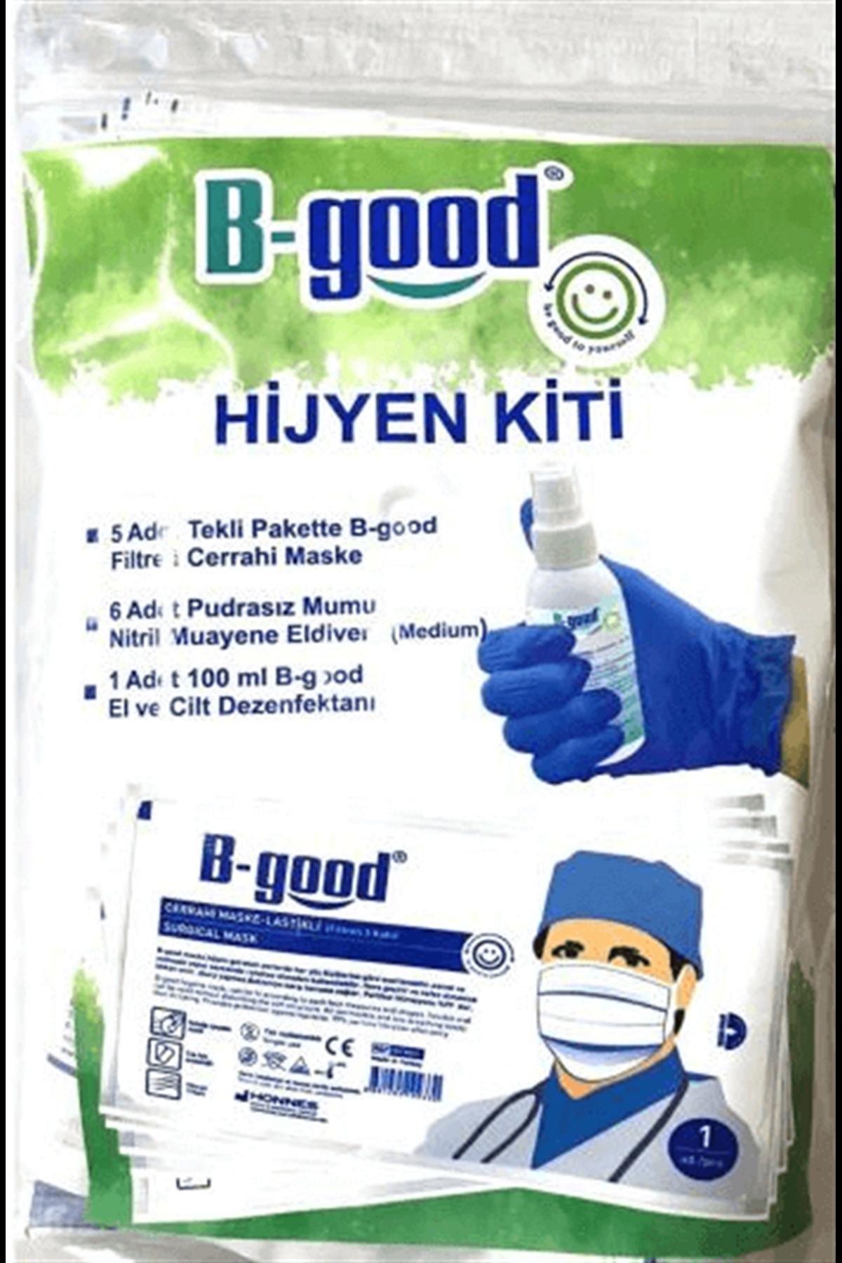 B-Good Hijyen Kiti - 5 Adet Maske - 6 Adet Pudrasız Mavi Nitril Eldiven Orta Boy - 100 ml Dezenfektan