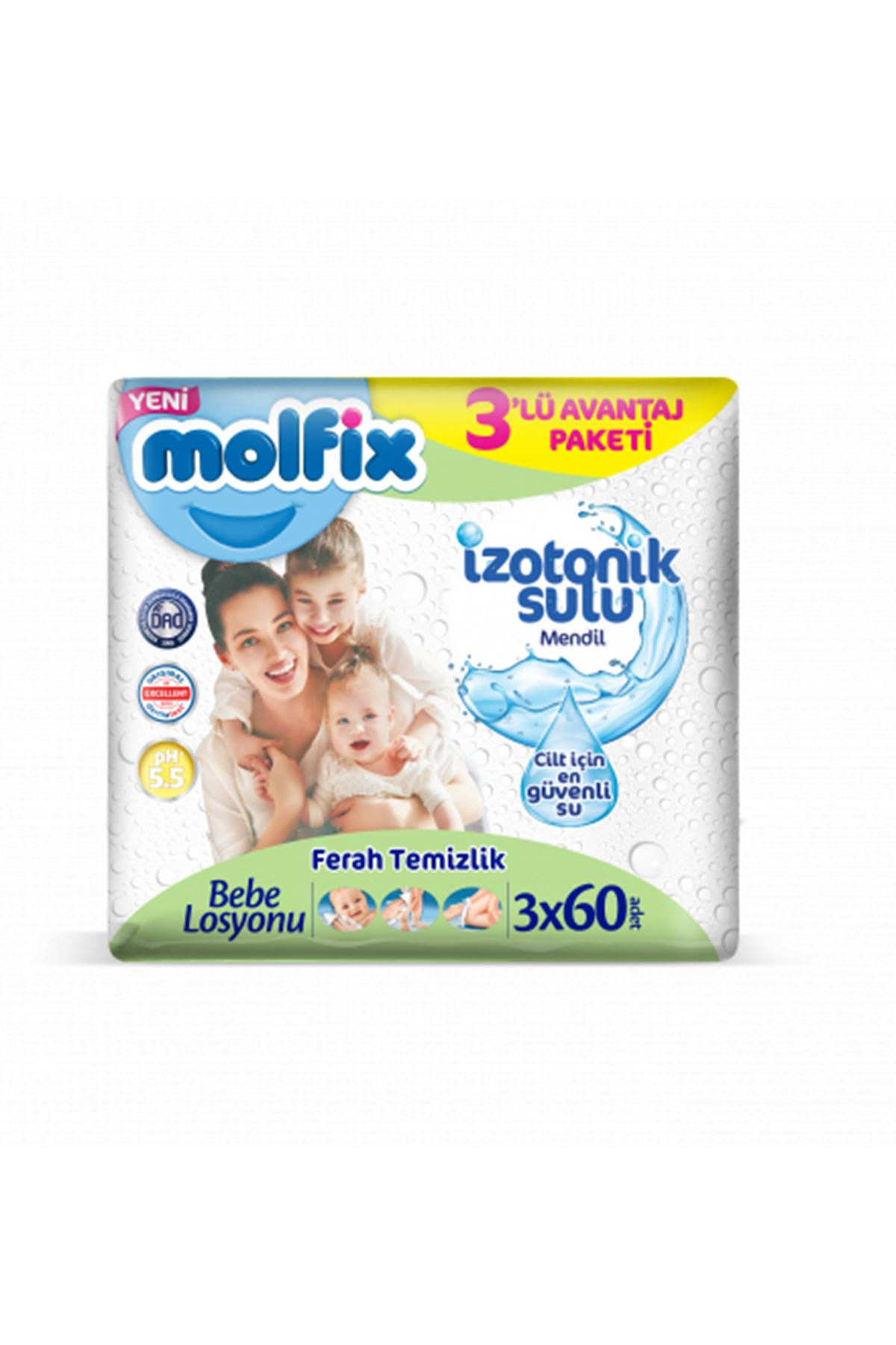 Molfix İzotonik Islak Havlu Ferah Temizlik 3'lü Paket (180 Yaprak)