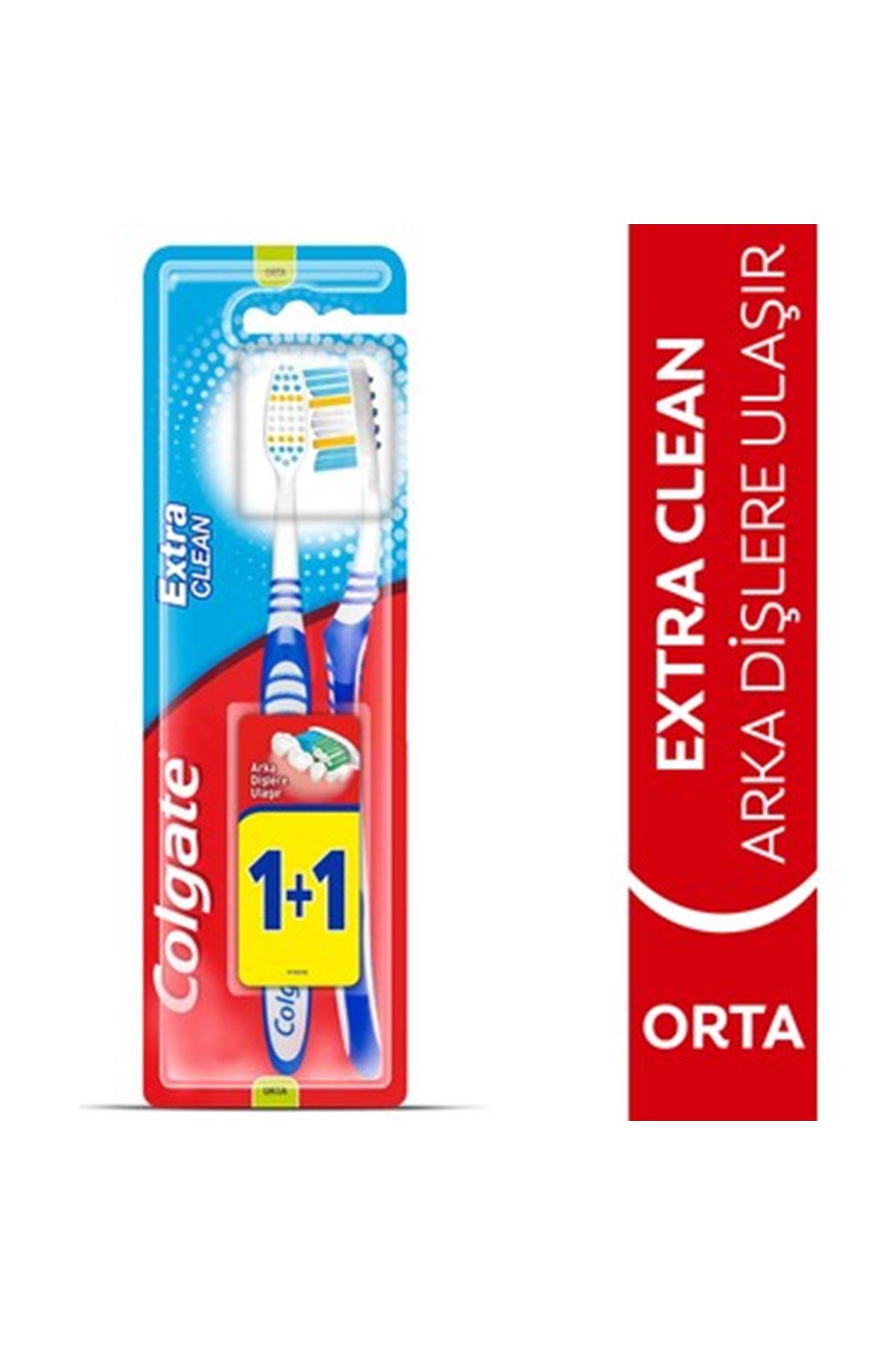 Colgate Extra Clean Dil Temizleyicili Orta Diş Fırçası 1+1
