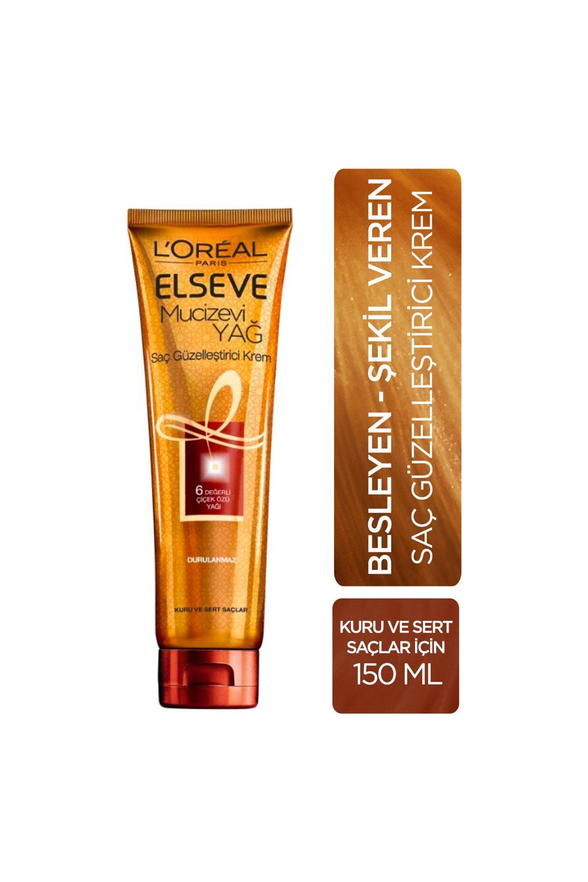 L'Oreal Paris Elseve Mucizevi Yağ  Kuru ve Sert  Saçlar İçin Güzelleştirici Krem 150 ml